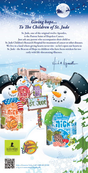 National Beverage Starts St. Nick's Drinks' Programme To Gather Donation For St. Jude's Children